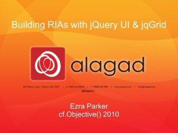 Building RIAs with jQuery UI & jqGrid - cf.Objective()