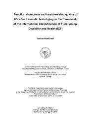 Functional outcome and health-related quality of ... - Helda - Helsinki.fi