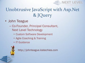 Unobtrusive JavaScript with Asp.Net & JQuery - LosTechies