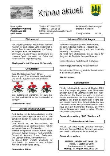 Platzkonzert Geburtstage Lehrabschlussprüfungen Krinauer Chilbi ...