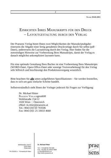 EINRICHTEN IHRES MANUSKRIPTS FÜR DEN ... - Praesens Verlag