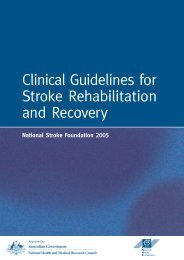 Clinical Guidelines for Stroke Rehabilitation and Recovery