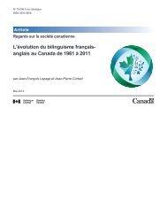 L'évolution du bilinguisme françaisanglais au Canada de 1961 à 2011