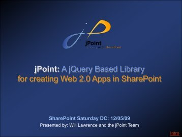 jPoint: A jQuery Based Library for creating Web 2.0 Apps in SharePoint