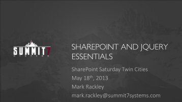 SharePoint and jQuery - Rackley.pdf - SharePoint Saturday