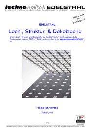 Loch-, Struktur- & Dekobleche - technometall EDELSTAHL