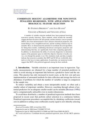 Coordinate descent algorithms for nonconvex penalized regression ...