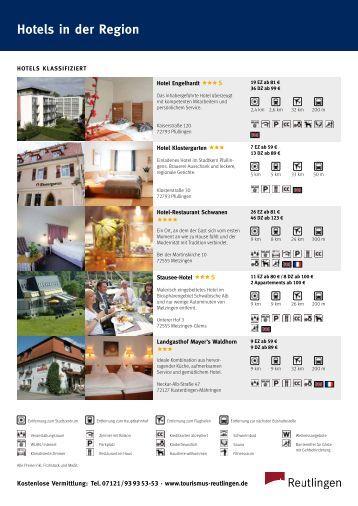 Hotels in der Region - Tourismus Reutlingen