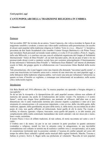Canti popolari della tradizione religoiosa in Umbria - La Tramontana