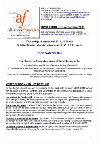 INVITATION n° 1 septembre 2011 JOOP VAN SCHAIK - Alliance ...