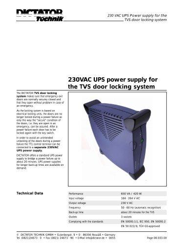 230VAC UPS power supply for the TVS door locking system - Dictator