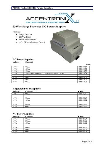 230Vac Surge Protected DC Power Supplies