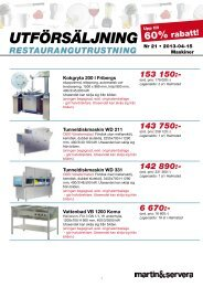 Utförsäljningslista maskiner - Martin & Servera