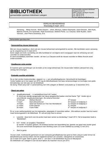 Verslag beheerraad bibliotheek 6 maart 2013 - Ledegem