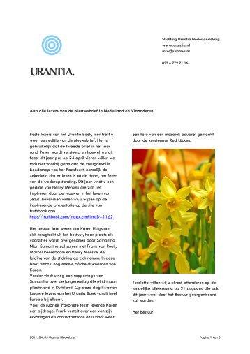 Nieuwsbrief april 2011 - Urantia site Nederland