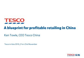 A blueprint for profitable retailing in China - Tesco PLC