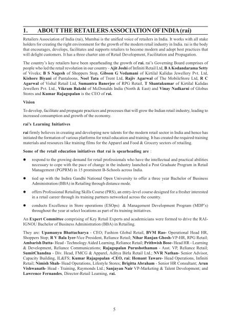 1 About The Retailers Association Of India Ignou