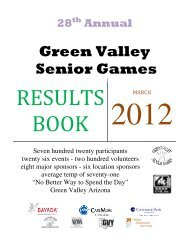 2012 Green Valley Senior Games Results Book