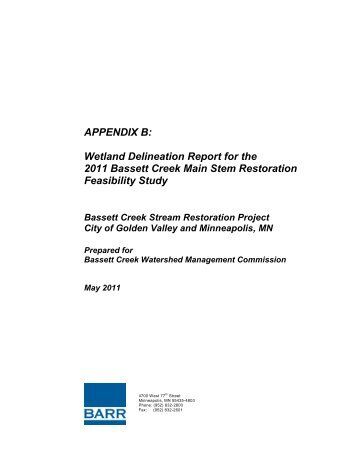 Wetland Delineation Report - Bassett Creek Water Management ...