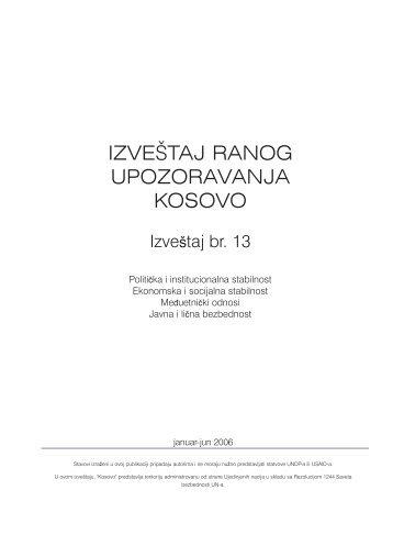 IZVEŠTAJ RANOG UPOZORAVANJA KOSOVO - UNDP Kosovo