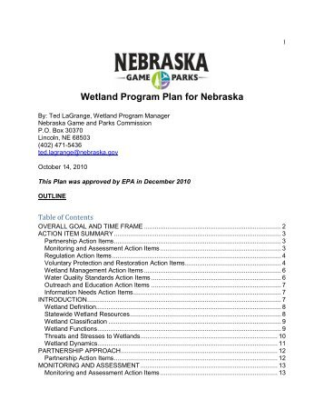 Wetland Program Plan - Nebraska Game and Parks Commission ...