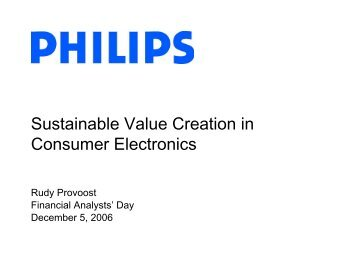Sustainable Value Creation in Consumer Electronics - Philips