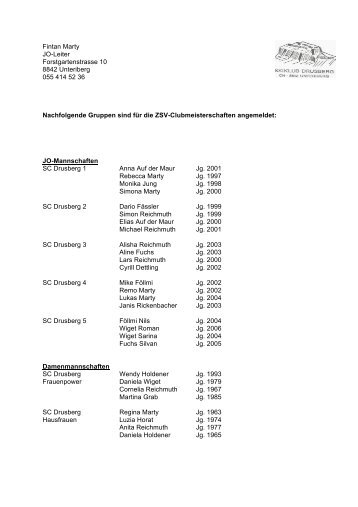 Anmeldung 2013 HP - Skiclub Drusberg Unteriberg