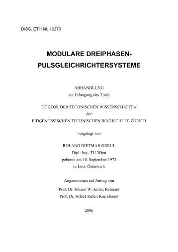 modulare dreiphasen- pulsgleichrichtersysteme - ETH Zürich
