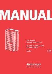 User Manual Sunways Solar Inverter AT 2700, AT ... - Sunways AG