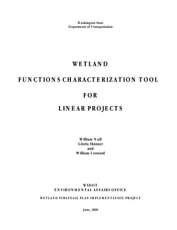 Wetland Functions Characterization Tool for Linear Projects