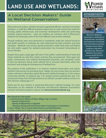 Land Use and Wetlands: a local decision maker's guide to wetland ...