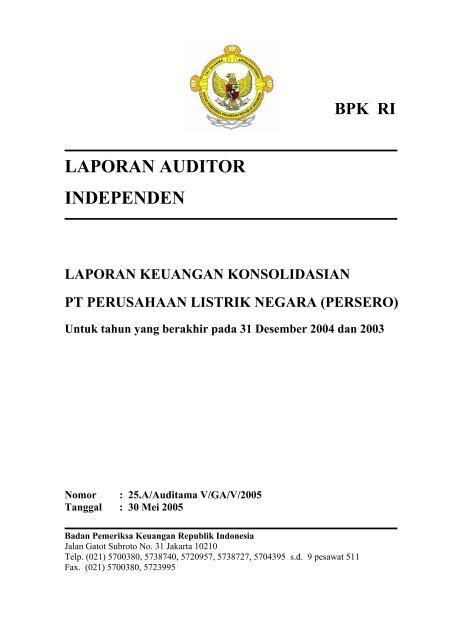 Laporan Auditor Independen Badan Pemeriksa Keuangan
