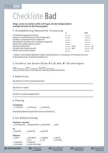 Checkliste Badezimmer   Baumanagement