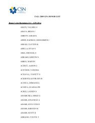 FALL 2009 GPA HONOR LIST Honor's List Recipients (3.3 – 3.59 ...