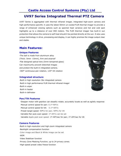 UV97 Series Integrated Thermal PTZ Camera - Castlecontrols.co.za