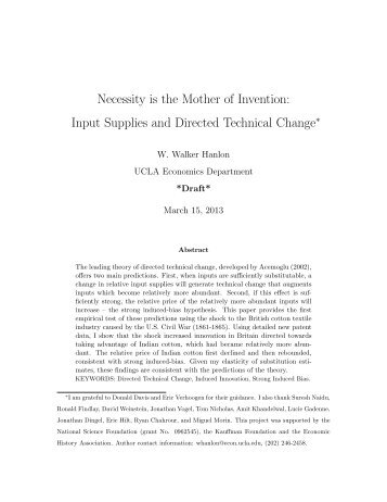 Input Supplies and Directed Technical Change - University of ...
