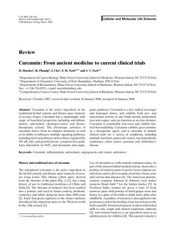 Review Curcumin: From ancient medicine to current clinical trials