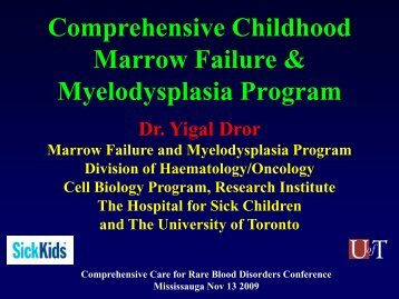 Comprehensive Childhood Marrow Failure & Myelodysplasia Program