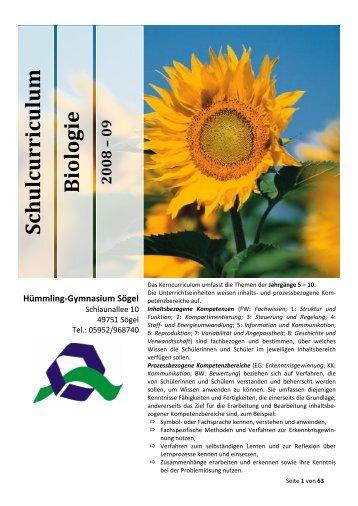 Schulcurriculum Biologie - des Hümmling-Gymnasium
