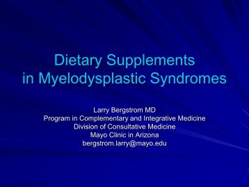Dietary Supplements in Myelodysplastic Syndromes