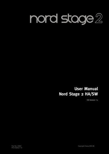User Manual Nord Stage 2 HA/SW - Clavia