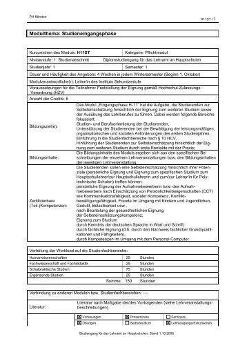 Studienplan Hauptschule - Pädagogische Hochschule Kärnten