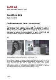 Backgrounder Corso Internationale Alno Design Tour 2010
