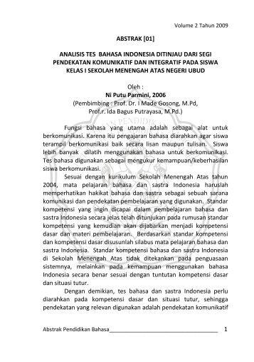 analisis tes bahasa indonesia ditinjau dari - Undiksha