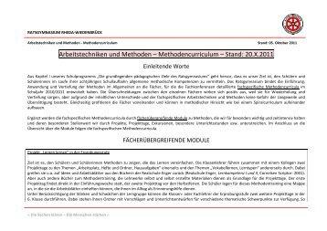 Arbeitstechniken und Methoden – Methodencurriculum – Stand: 20 ...