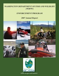 WASHINGTON DEPARTMENT OF FISH AND WILDLIFE (WDFW ...
