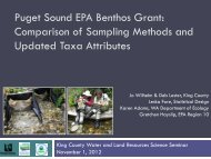 Puget Sound EPA Benthos Grant: Comparison of ... - King County