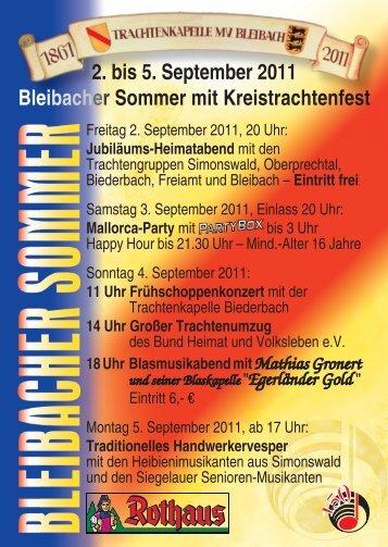 2. bis 5. September 2011 Bleibacher Sommer mit Kreistrachtenfest