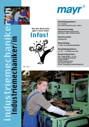 Industriemechaniker/in - mayr - Azubi Homepage