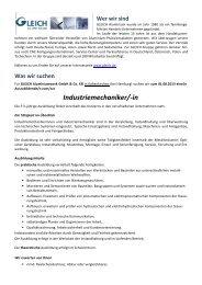 Auszubildende/n zum/zur Industriemechaniker - GLEICH Aluminium